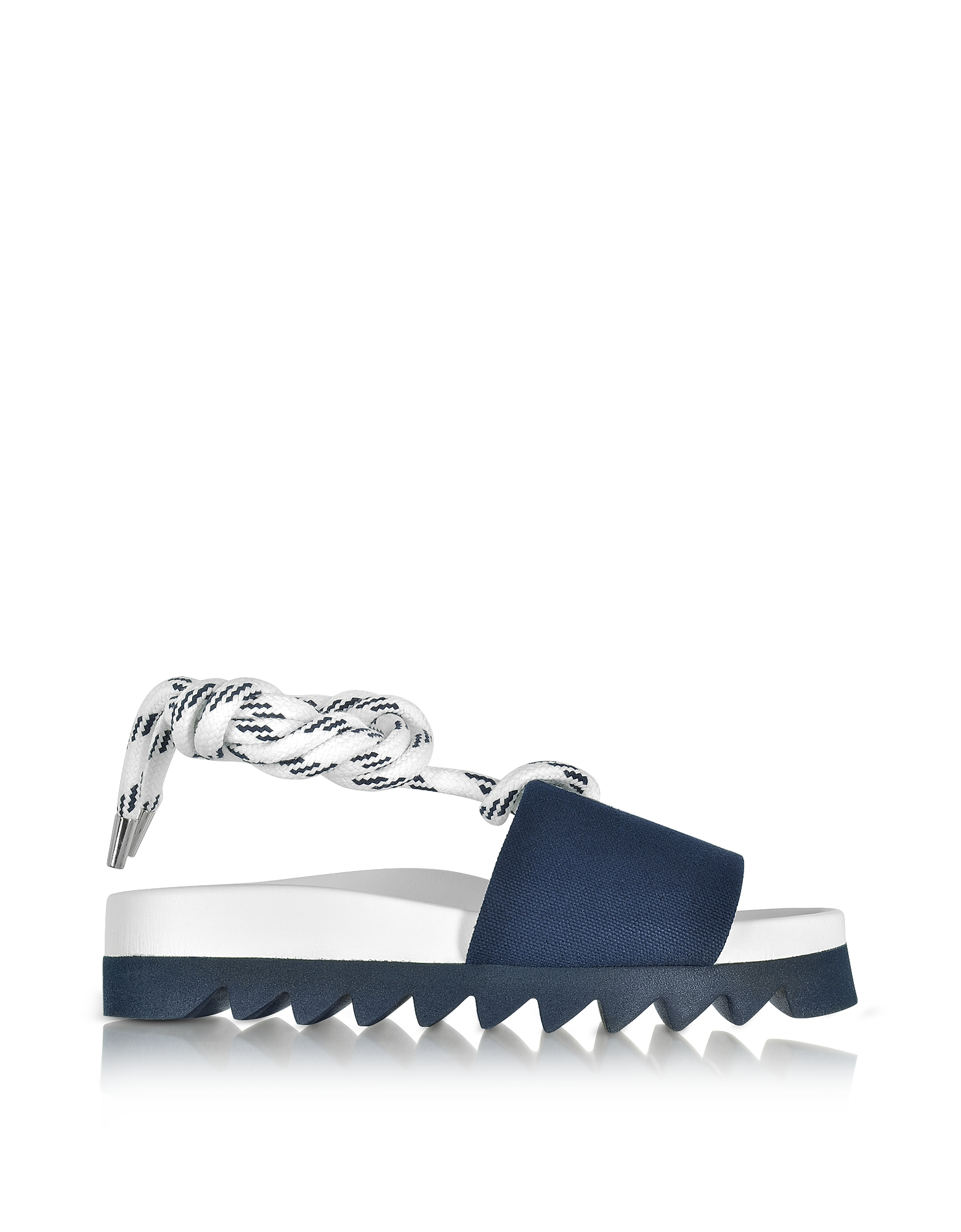 Joshua Sanders Shoes, Blue Canvas Sailor Flatform Sandals