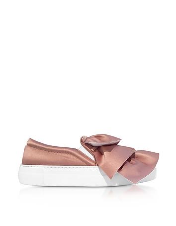 Joshua Sanders - Rose Satin Rouches Slip on Sneakers