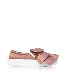 Rose Satin Rouches Slip on Sneakers - Joshua Sanders