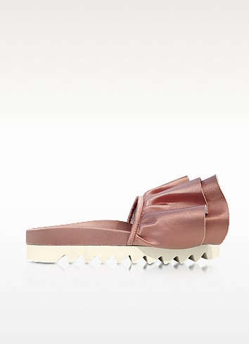 Rose Satin Rouches Slide Sandals - Joshua Sanders