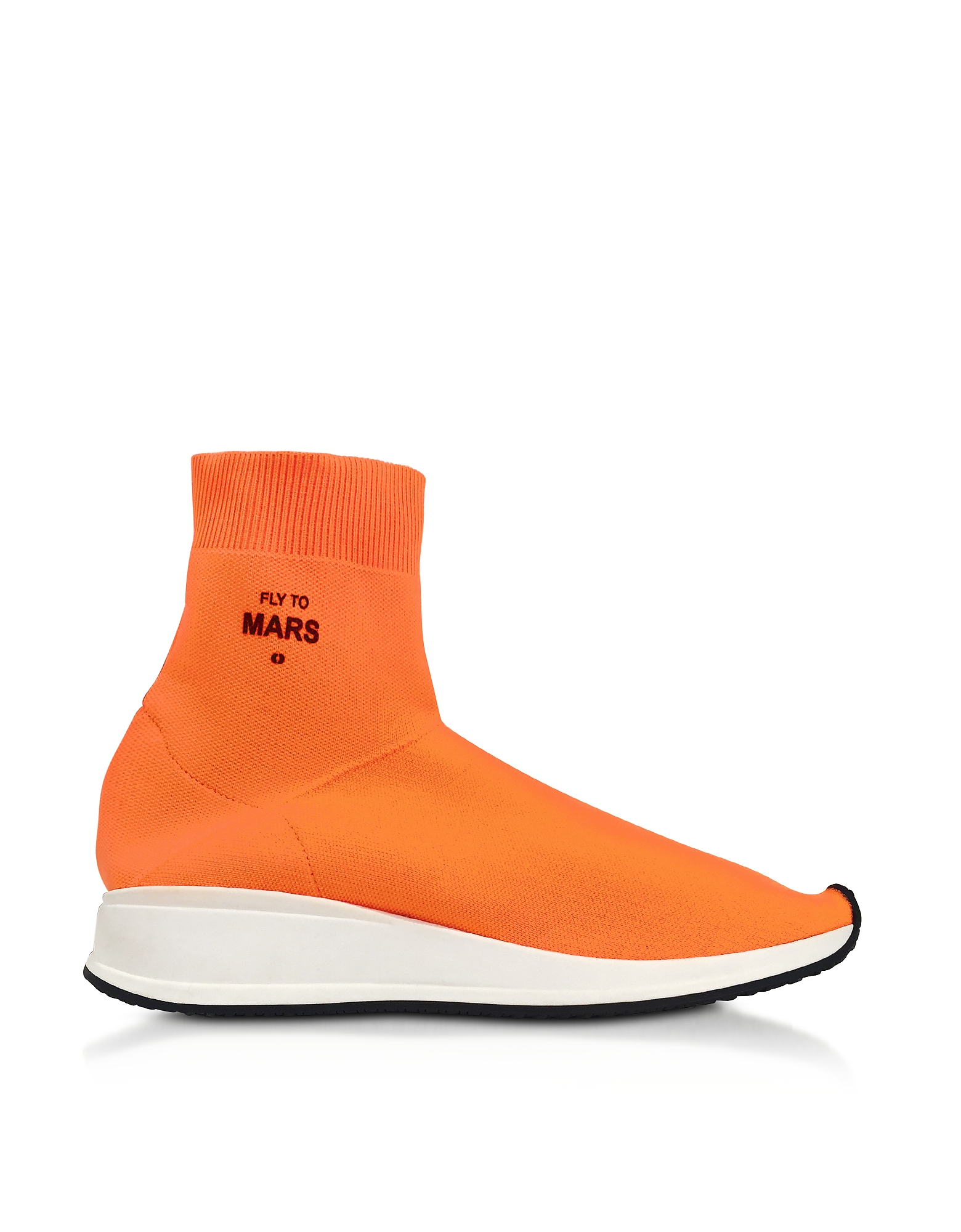 Joshua Sanders Shoes, Fly To Mars Neon Orange Nylon Sock Sneakers
