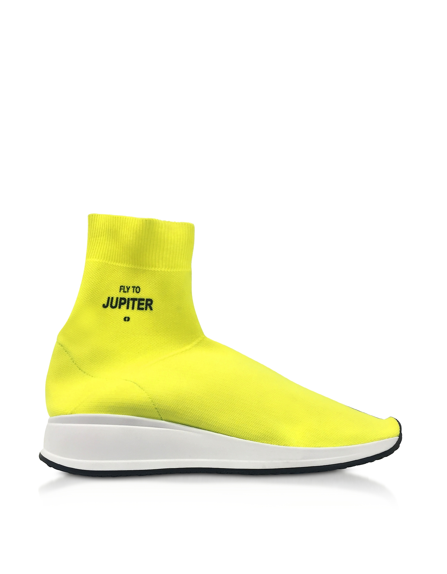 Joshua Sanders Shoes, Fly To Jupiter Neon Yellow Nylon Sock Sneakers