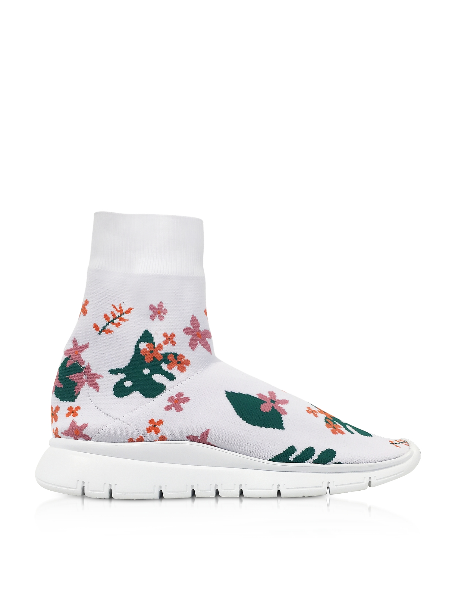 WHITE FLOWER NYLON SOCK SNEAKERS