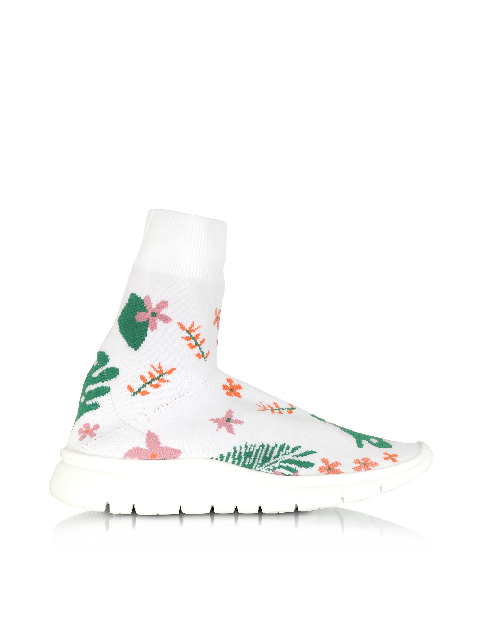 Joshua Sanders Shoes, White Flower Nylon Sock Sneakers