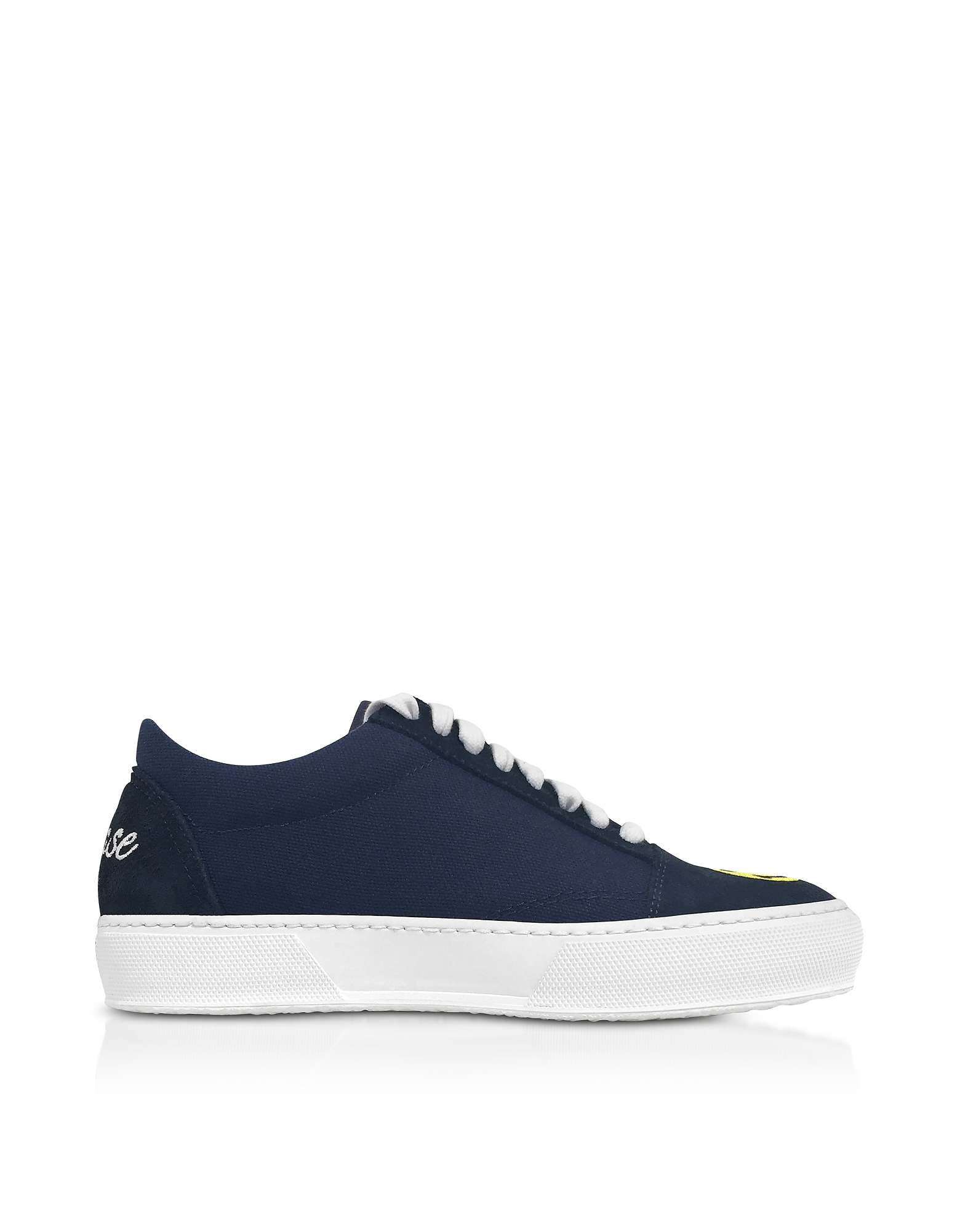 Joshua Sanders Shoes, Blue Cotton and Leather Smile Embroidery Lace Up Sneakers