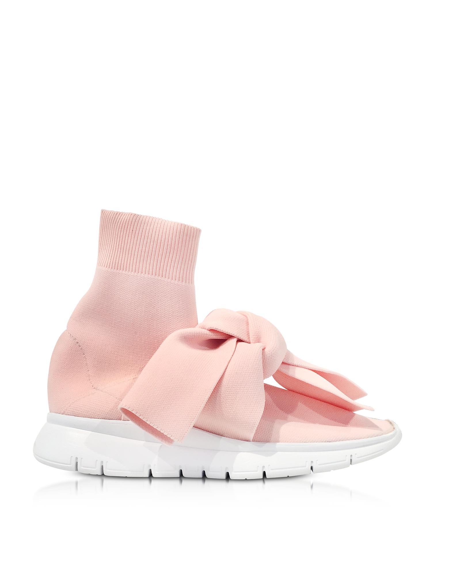 Joshua Sanders Shoes, Knot Pink Nylon Sock Sneakers