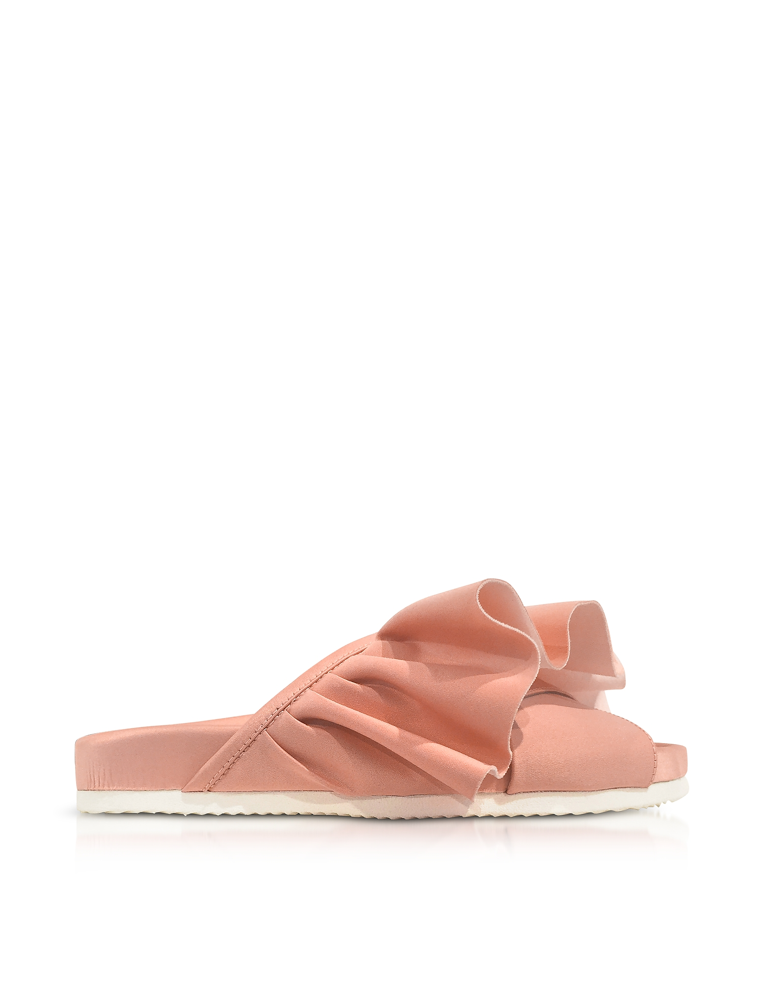 Joshua Sanders Shoes, Pink Satin Ruffle Slide Sandals