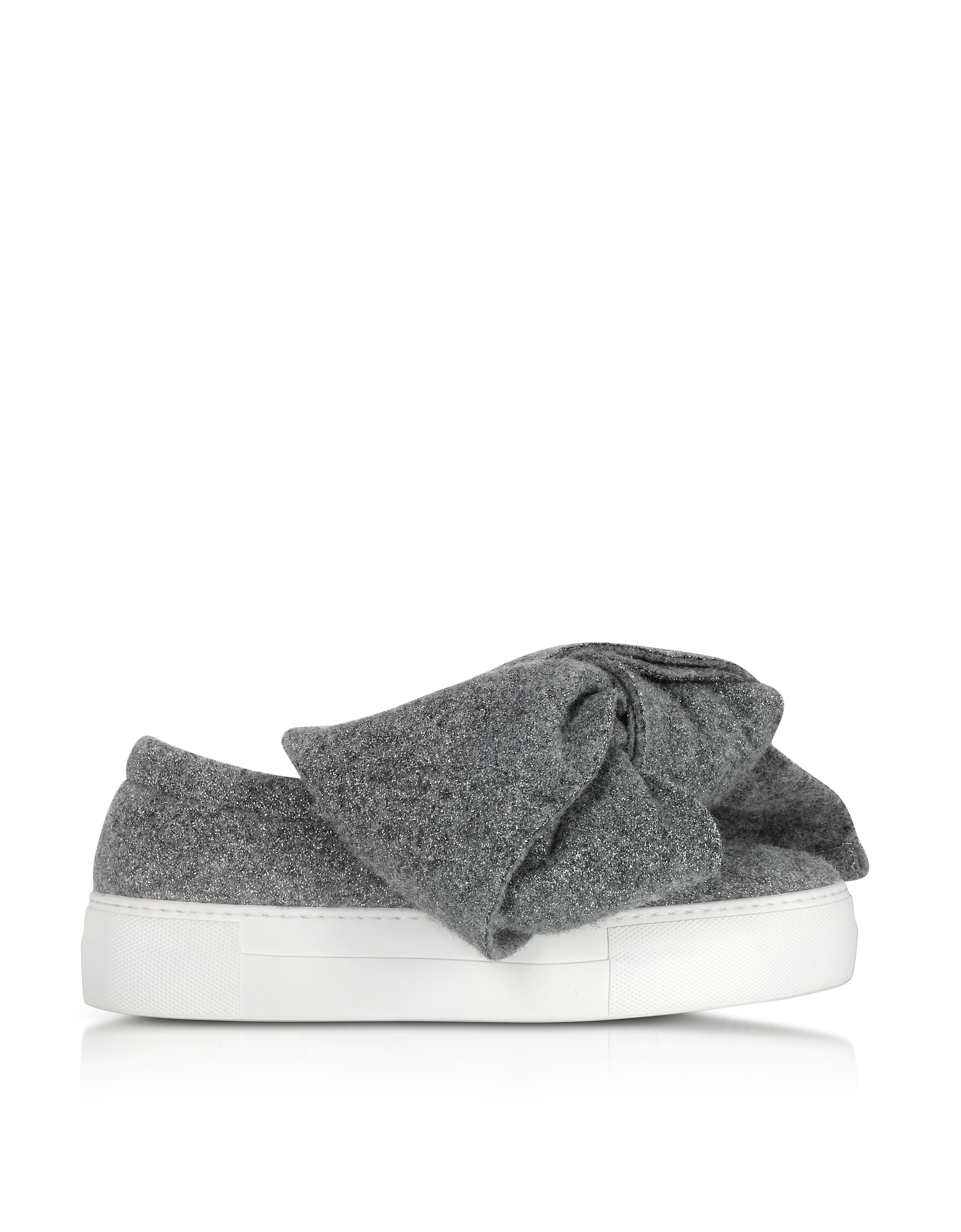 Joshua Sanders Shoes, Grey Lurex Bow Slip on Sneakers