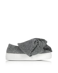 Grey Lurex Bow Slip on Sneakers - Joshua Sanders