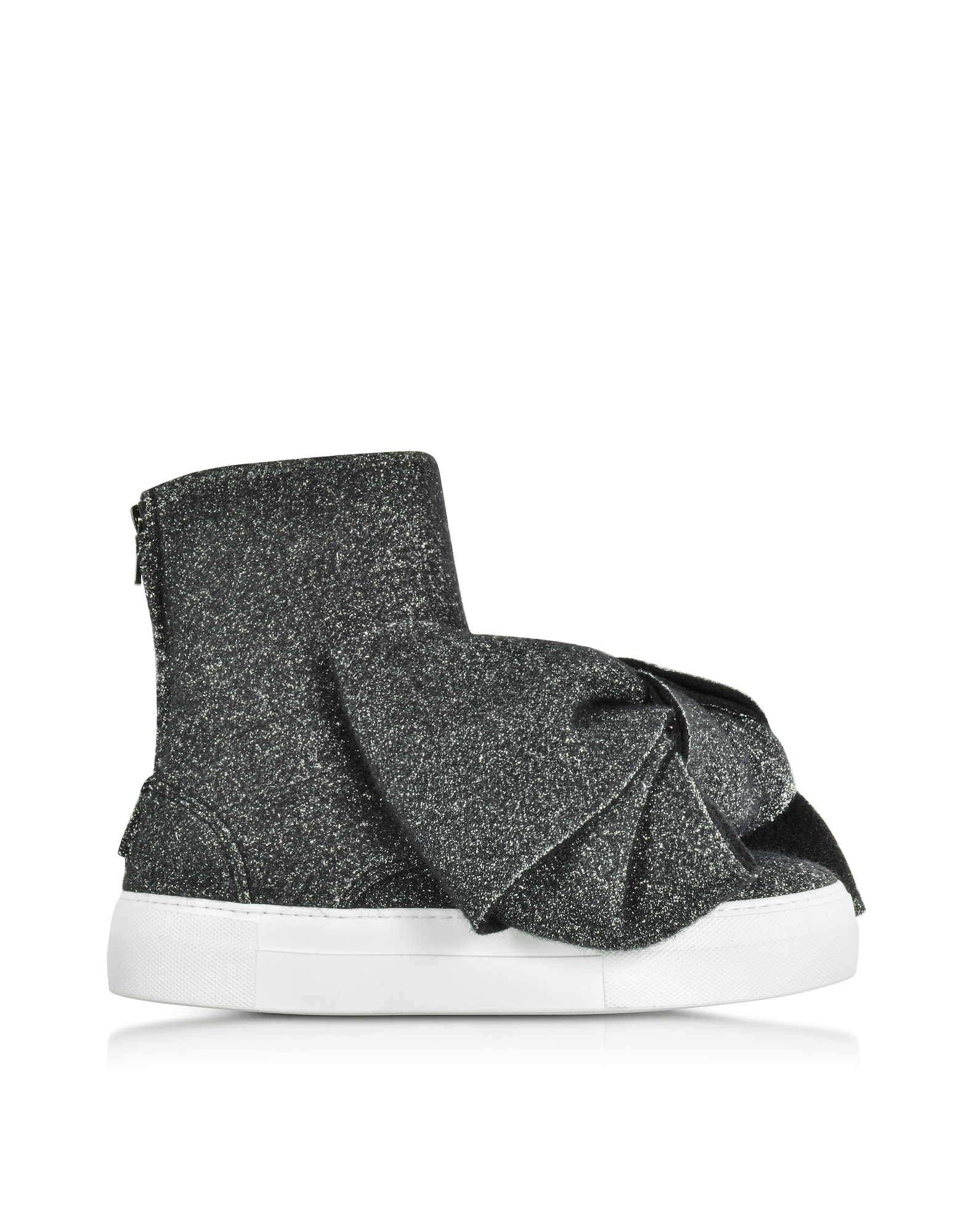 Joshua Sanders Shoes, Black Lurex Bow Slip on Sneakers