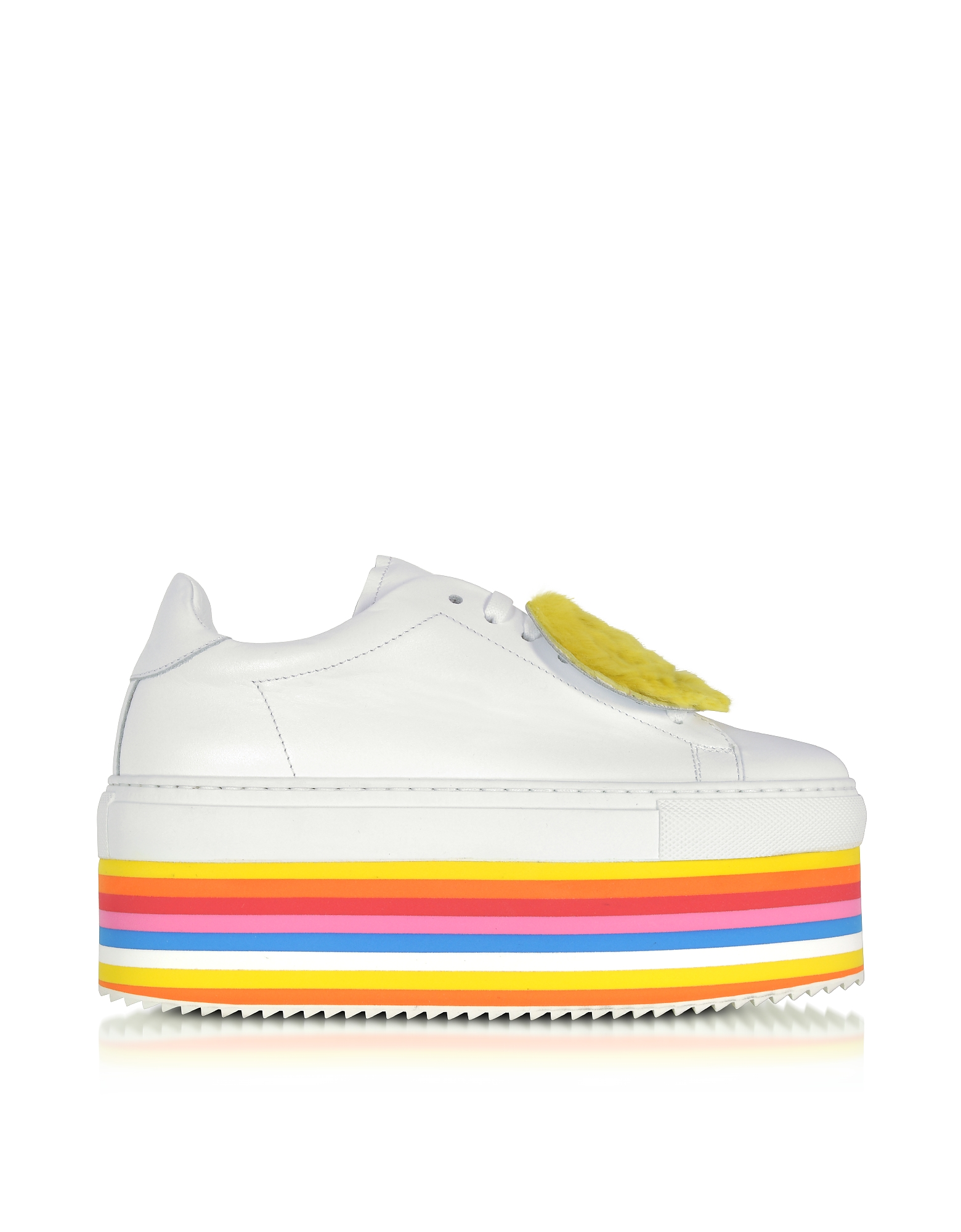 Joshua Sanders Shoes, White Leather Rainbow Flatform Smile Sneakers w/Socks