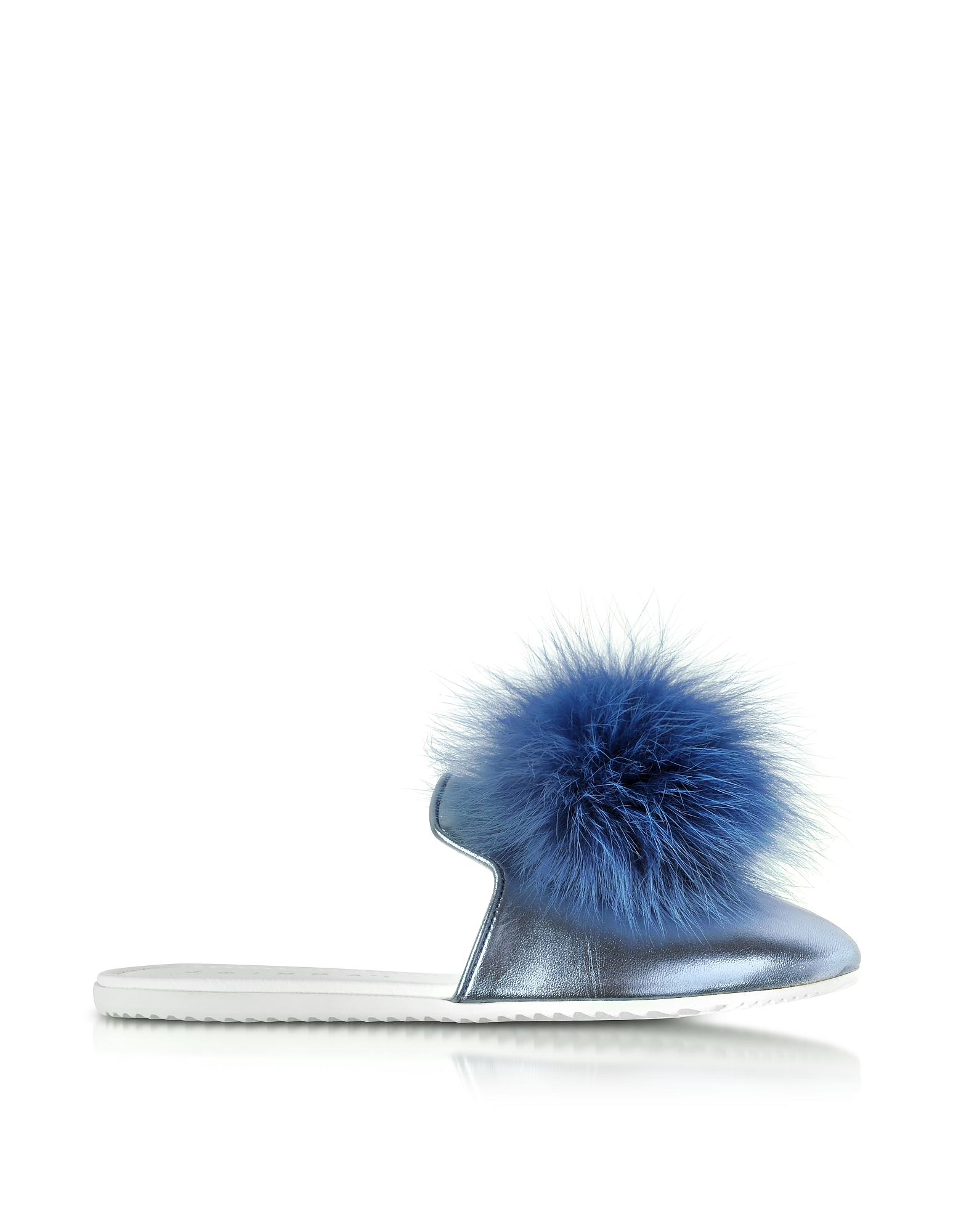 Joshua Sanders Shoes, Blue Laminated Leather Pom Pom Mule