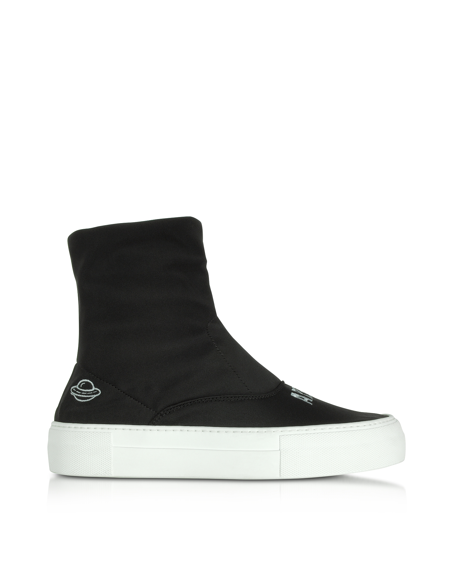Joshua Sanders Shoes, Are We Alone Black Neoprene High Top Sneakers