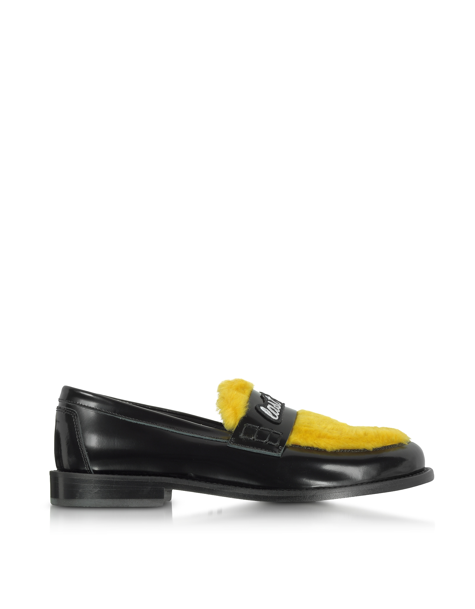 Joshua Sanders Shoes, Yellow Last Dance Furry Loafer