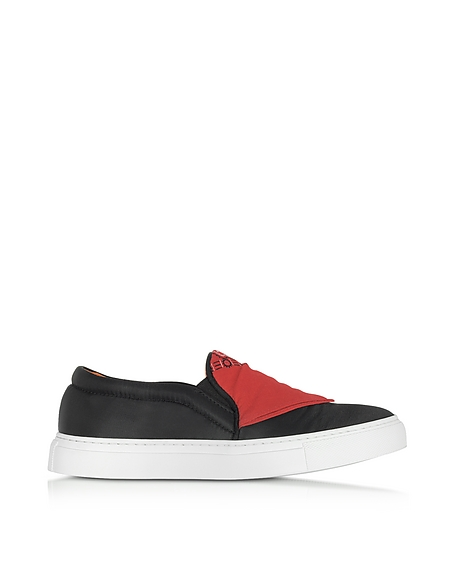 Joshua Sanders Sneakers Basses en Nylon Noir avec Bandana Rouge Appliqué