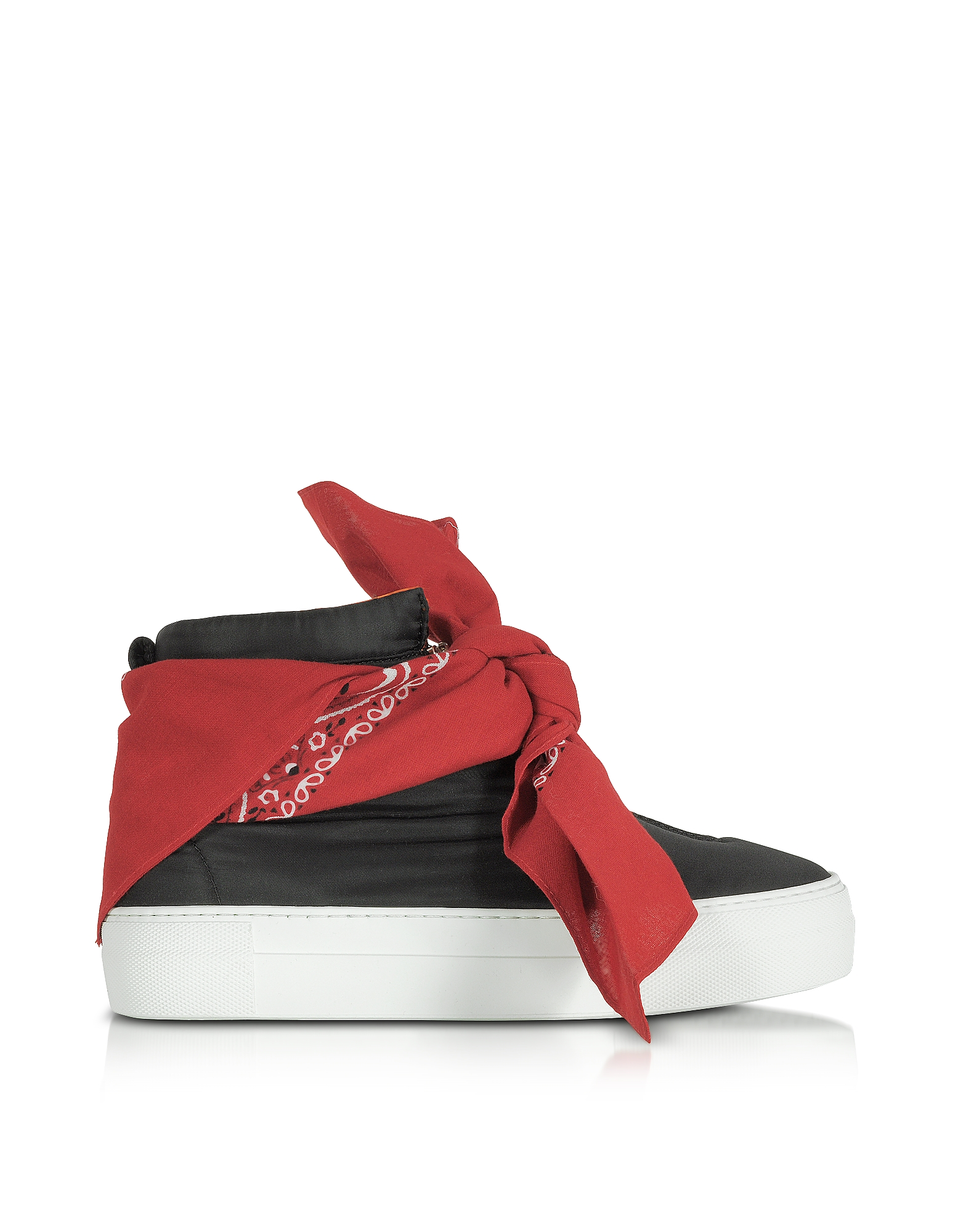 Joshua Sanders Shoes, Black Nylon High Top Bandana Sneakers
