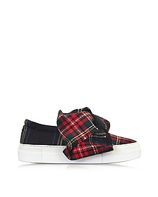 Blue Tartan Bow Wool Blend Slip On Sneaker - Joshua Sanders