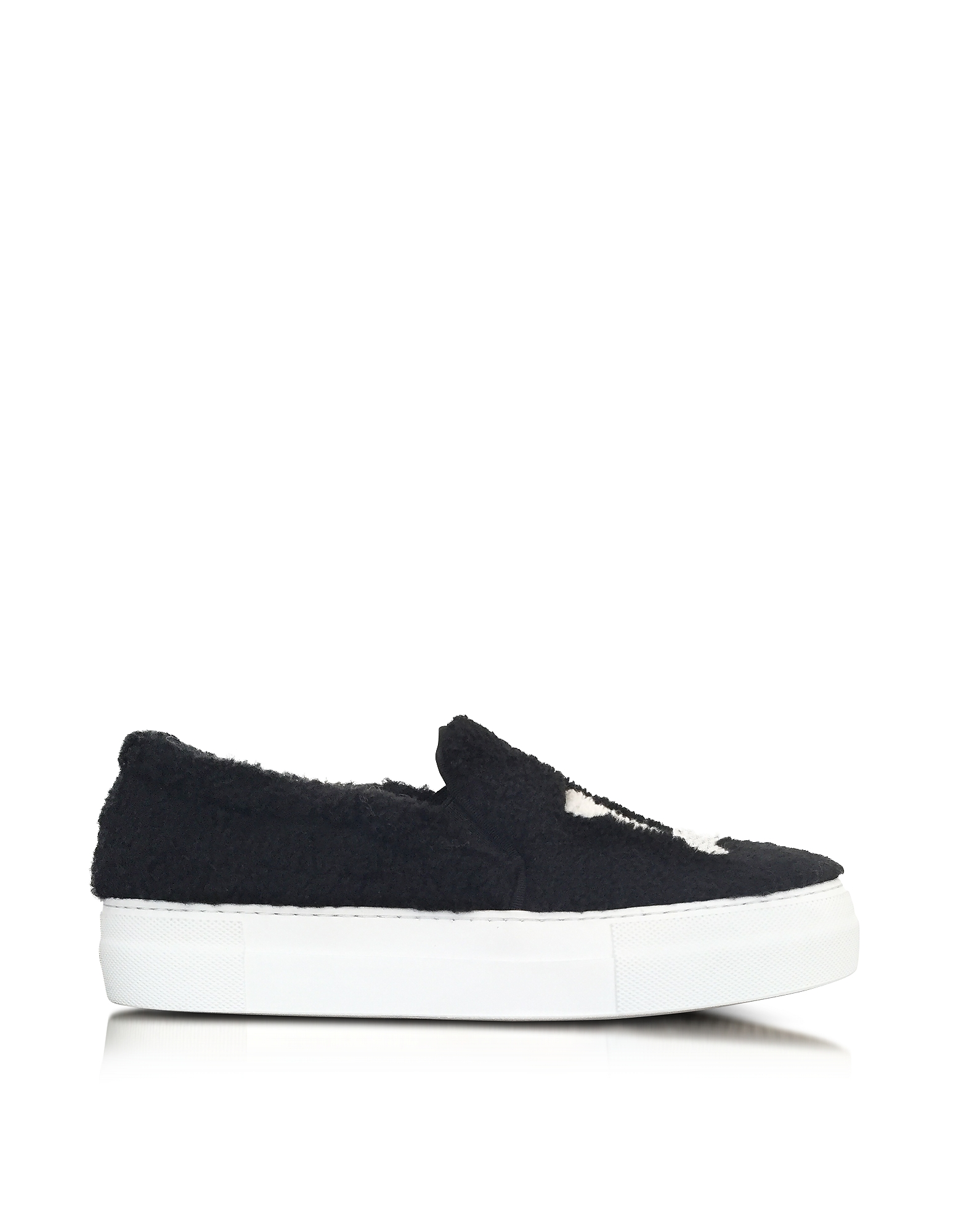 Joshua Sanders Shoes, LA Black Synthetic Fur Slip On Sneaker