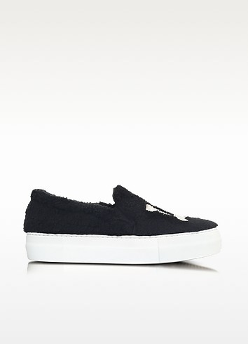 LA Black Synthetic Fur Slip On Sneaker - Joshua Sanders
