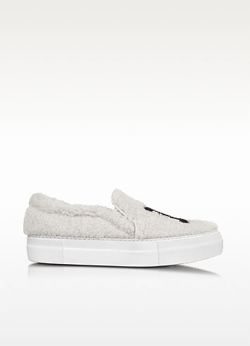 NY White Synthetic Fur Slip On Sneaker - Joshua Sanders