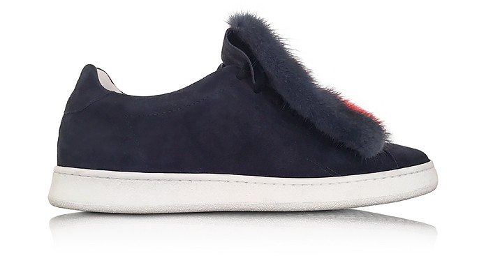 Var 4 Navy Blue Suede and Multicolor Fur Sneaker - Joshua Sanders