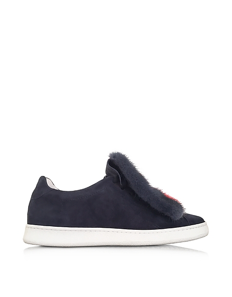 Foto Joshua Sanders Var 4 Sneaker in Suede Blu e Pelliccia Multicolor Scarpe