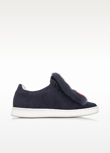 Var 4 Navy Blue Suede and Multicolor Fur Sneaker - Joshua Sanders