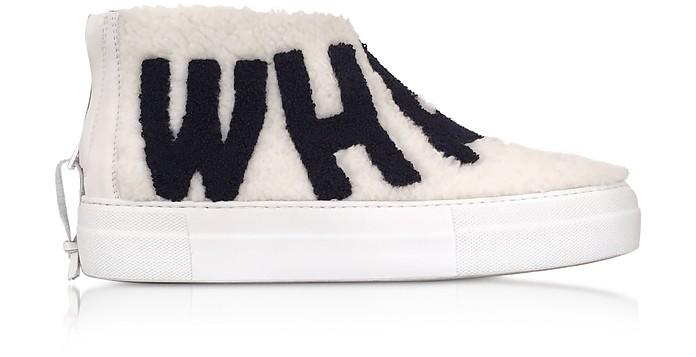 Whatever White Synthetic Fur Sneaker - Joshua Sanders