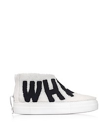 Whatever White Synthetic Fur Sneaker - Joshua Sanders