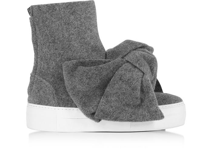 Melange Gray High Top Bow Sneakers - Joshua Sanders