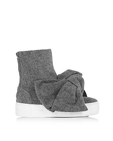 Melange Gray High Top Bow Sneakers - Joshua Sanders