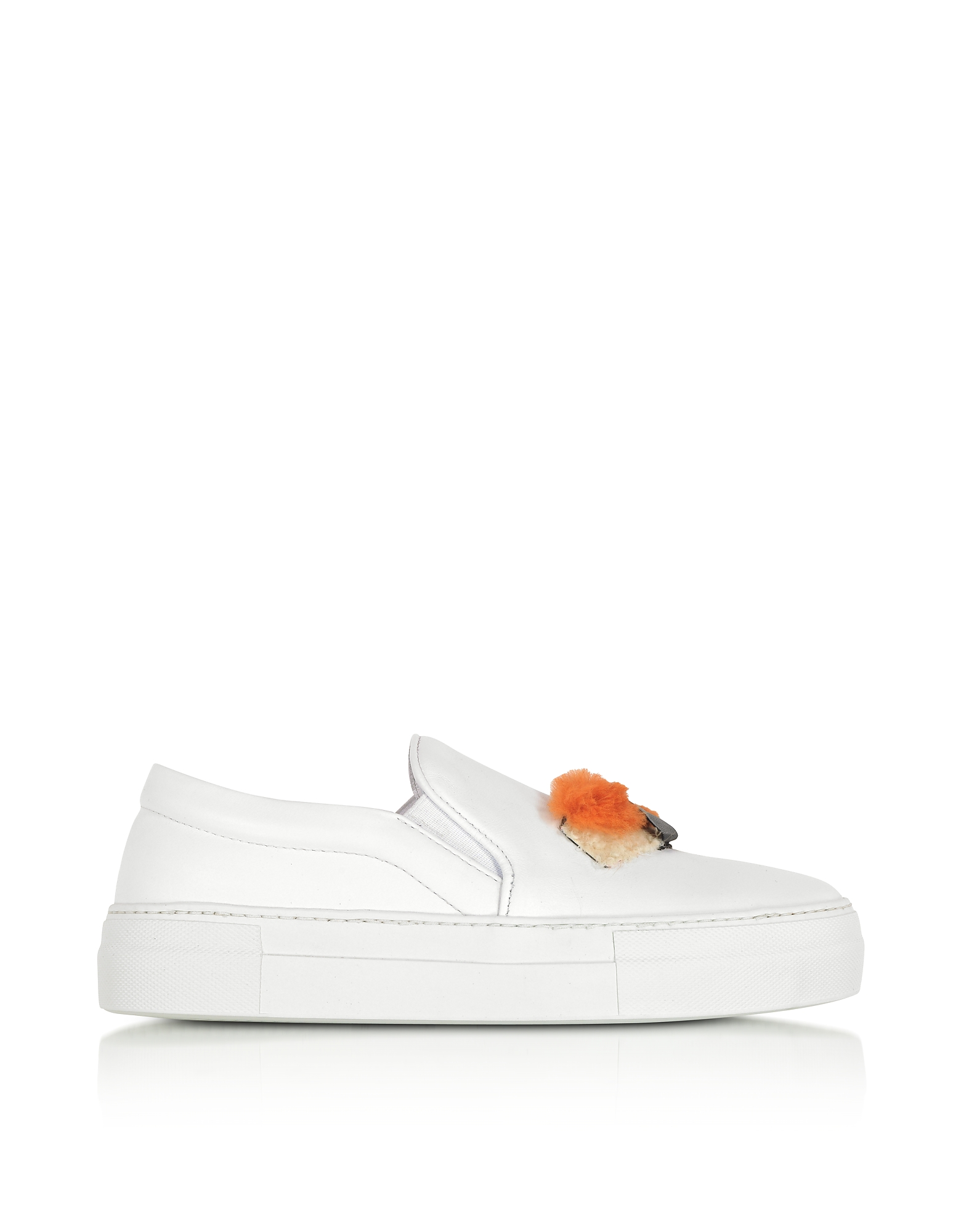 Joshua Sanders Shoes, Sushi White Leather Slip On Women's Sneakers