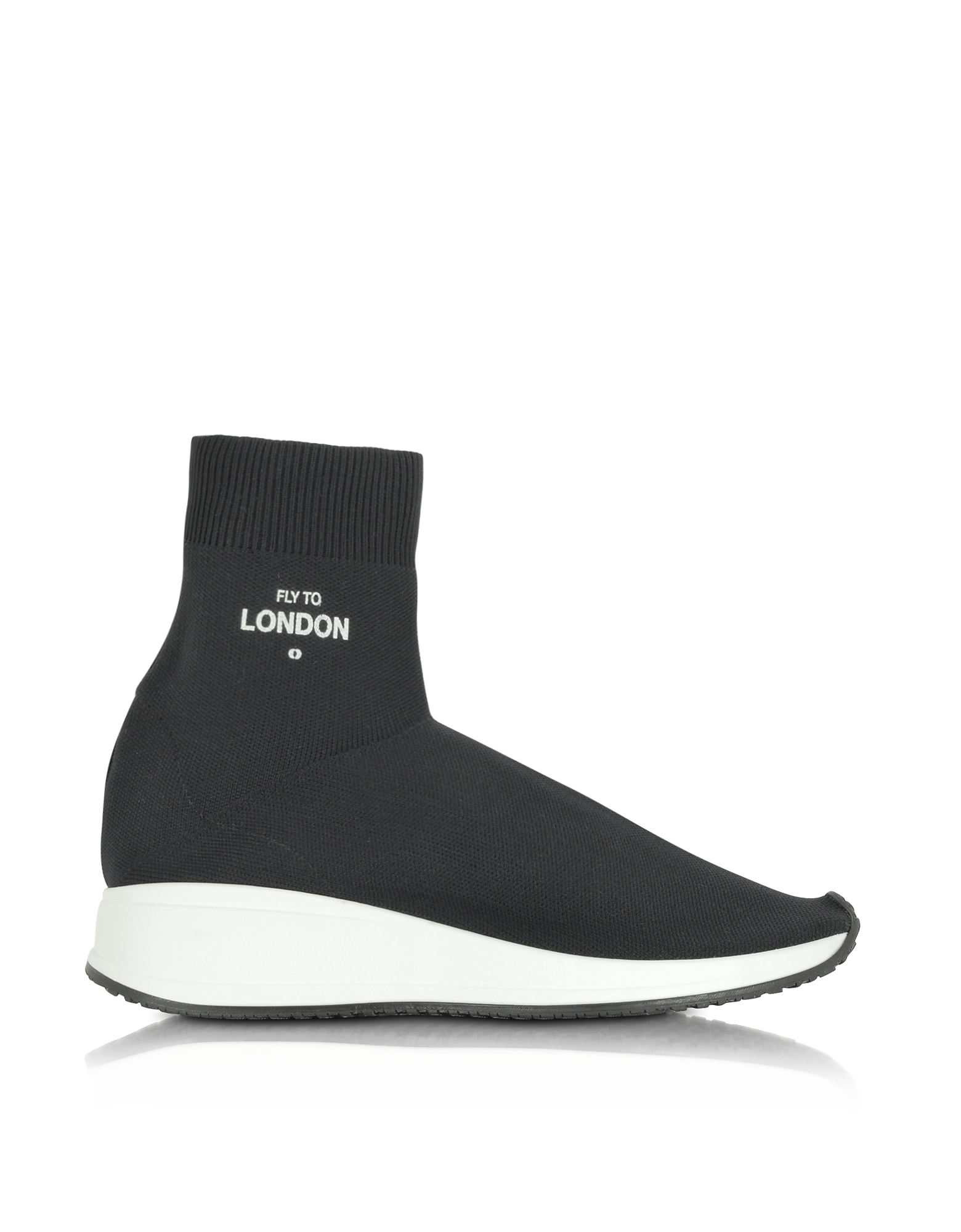 Joshua Sanders Shoes, Fly To London Black Nylon Sock Unisex Sneakers