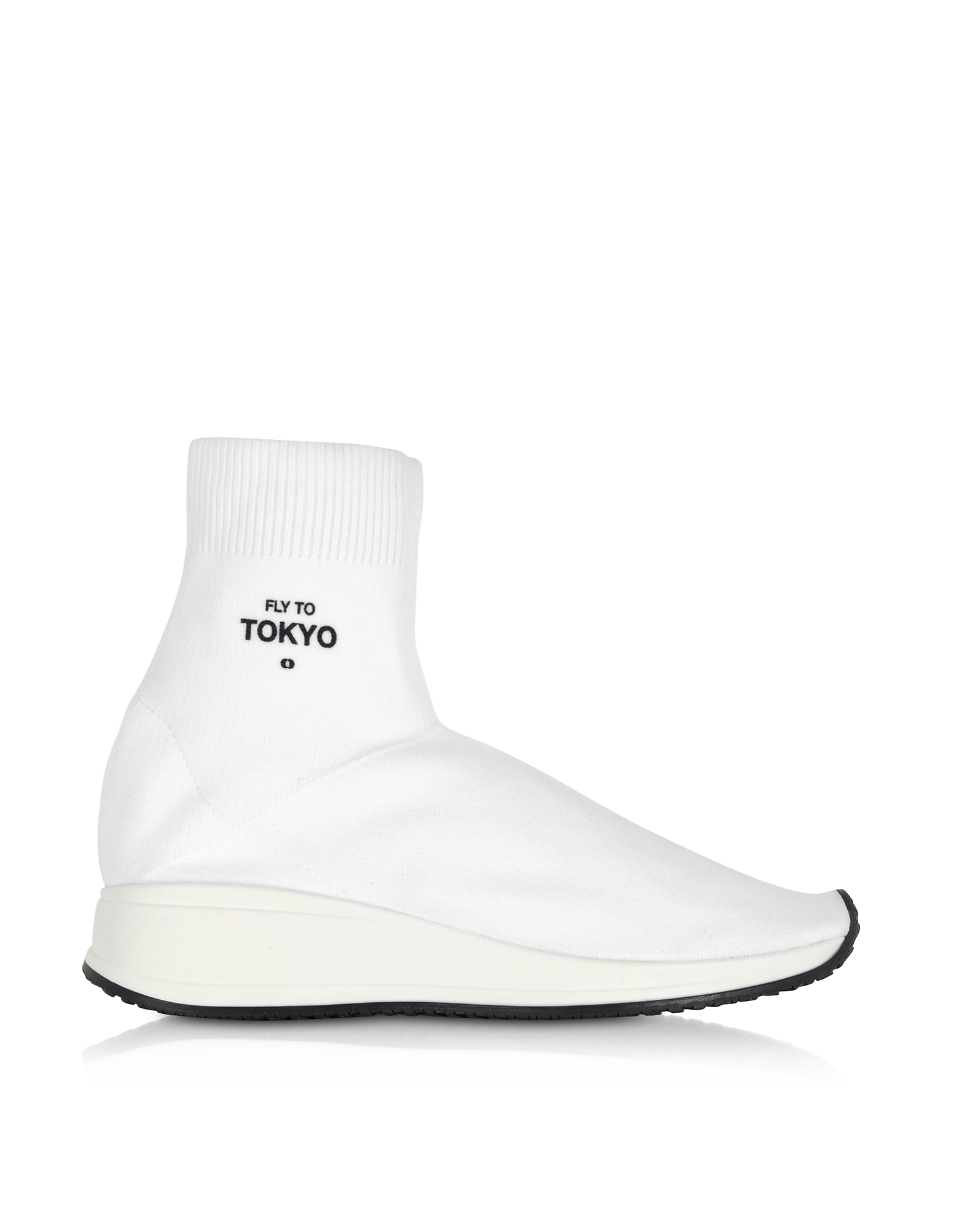 Joshua Sanders Shoes, Fly To Tokyo White Nylon Sock Unisex Sneakers
