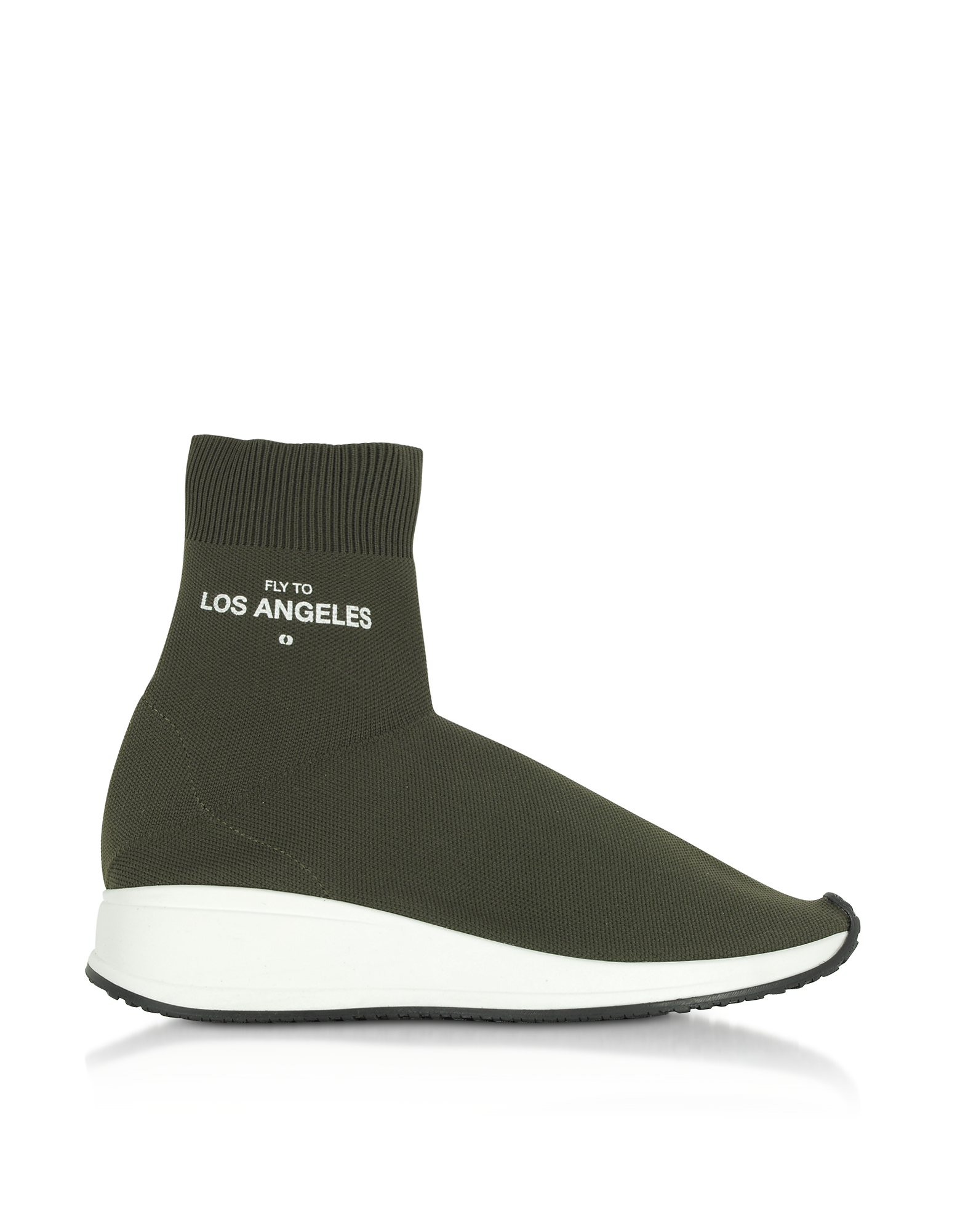 Joshua Sanders Shoes, Fly To Los Angeles Green Nylon Sock Unisex Sneakers