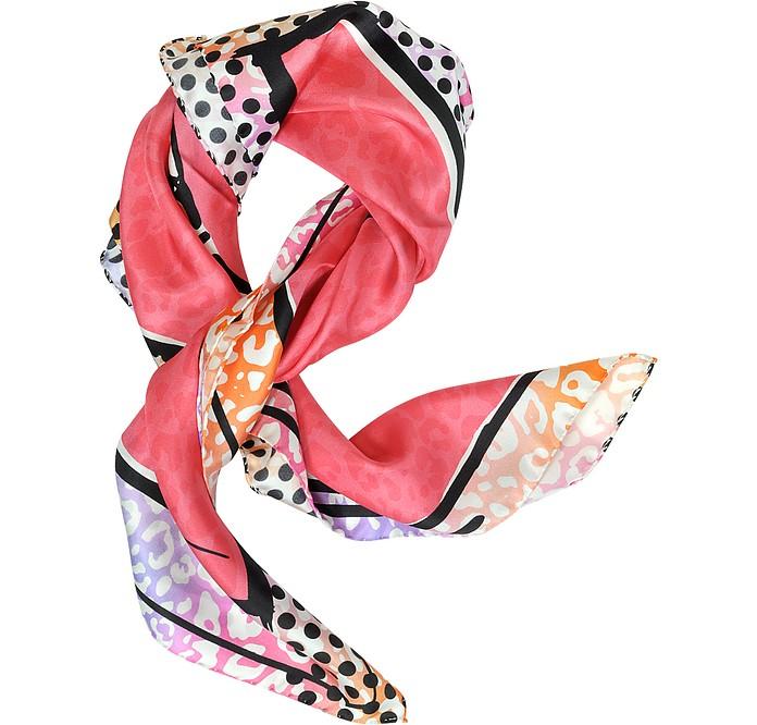 Coral Stiletto Printed Twill Silk Square Scarf - Jimmy Choo