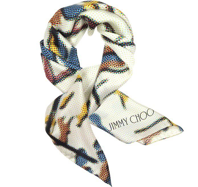 Blue and Yellow Polkadots Silk Square Scarf - Jimmy Choo