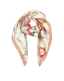 Shoe and Floral Printed Silk Square Scarf - Jimmy Choo