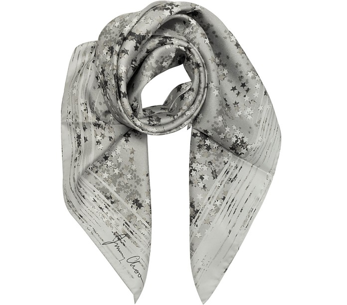 Stars Printed Silk Square Scarf - Jimmy Choo