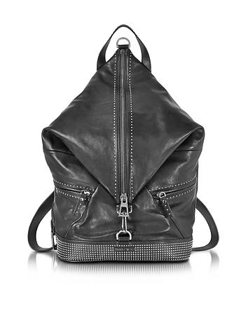 Fitzroy Black Satin Leather Backpack w/Mini Studs