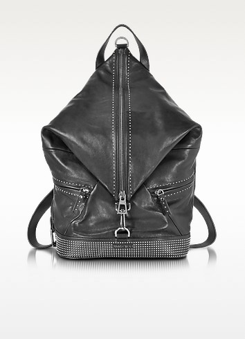 Fitzroy Black Satin Leather Backpack w/Mini Studs - Jimmy Choo
