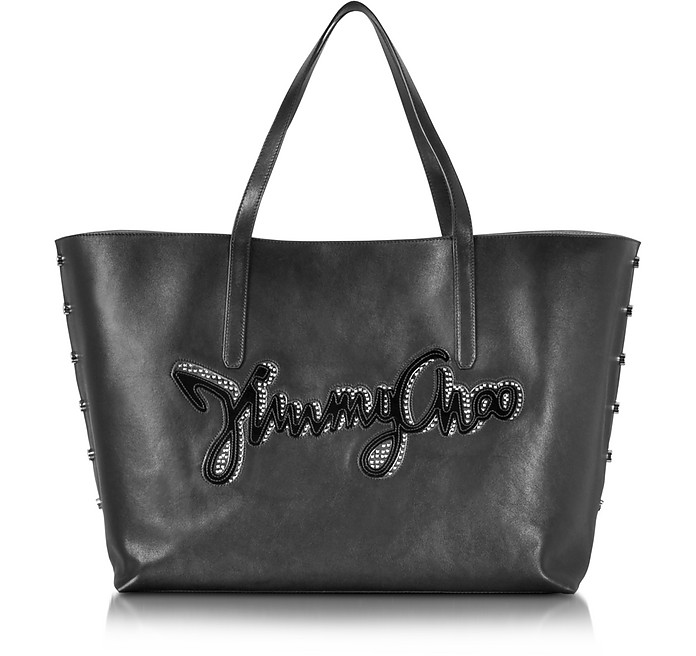 Pimlico Rock Biker Black Leather Tote w/Logo - Jimmy Choo