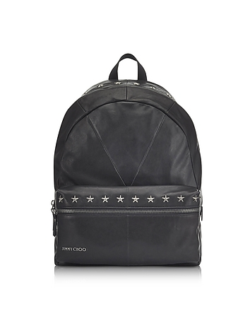 Reed BLS Biker Black Leather Backpack w/Studded