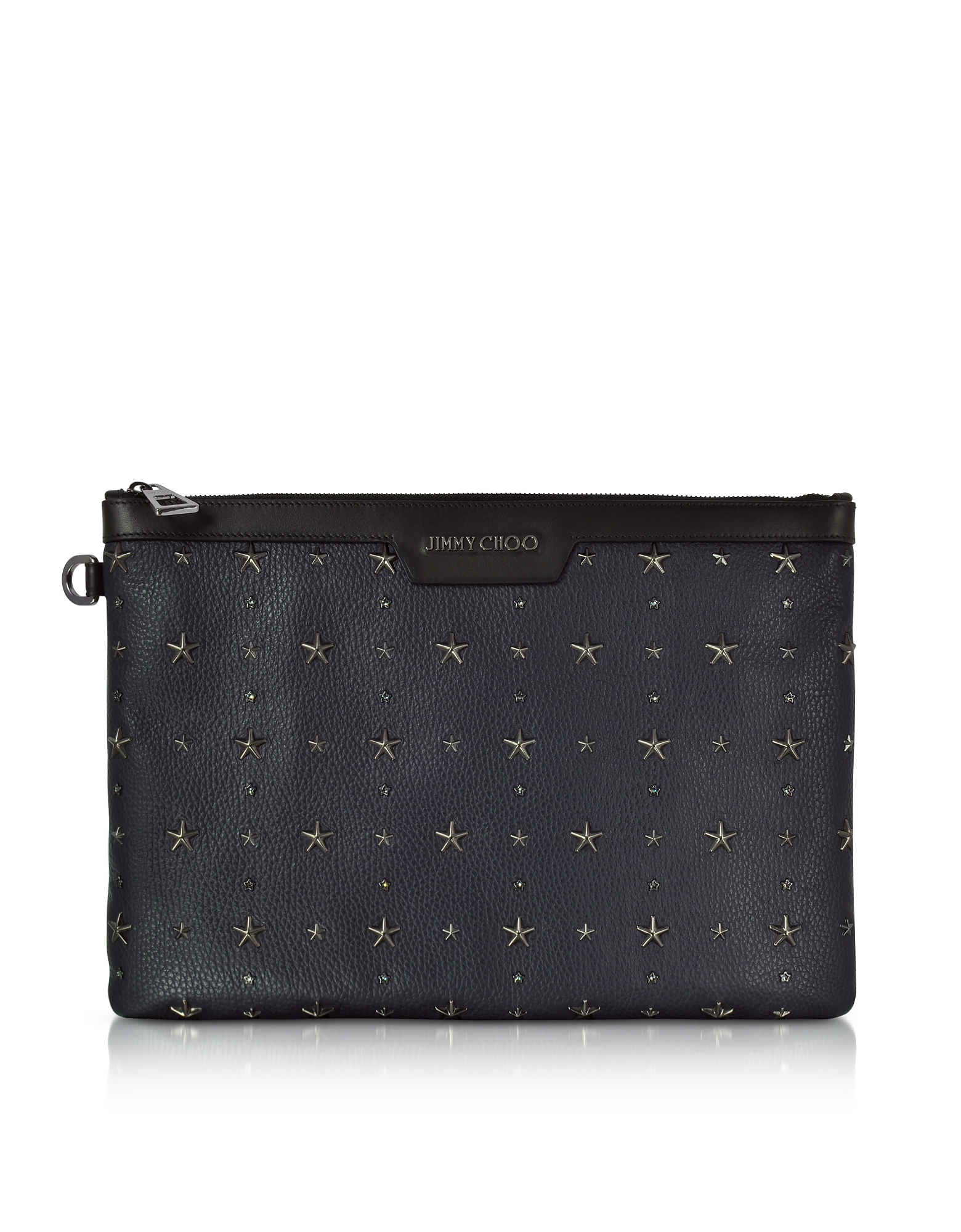 Jimmy Choo Handbags, Derek Navy Blue and Slate Grainy Leather Clutch w/Crystals Star