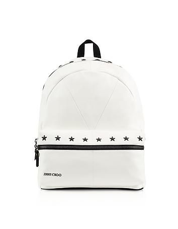 White/Black Biker Leather Large Backpack w/Stars