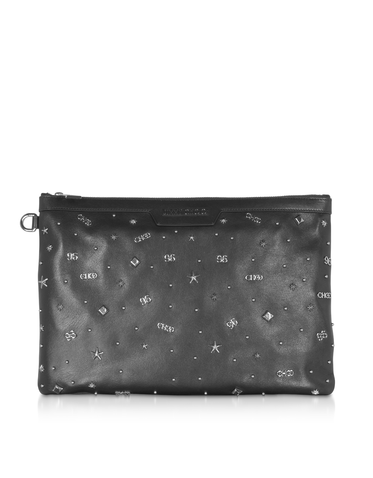 Black Leather DEREK Medium Clutch