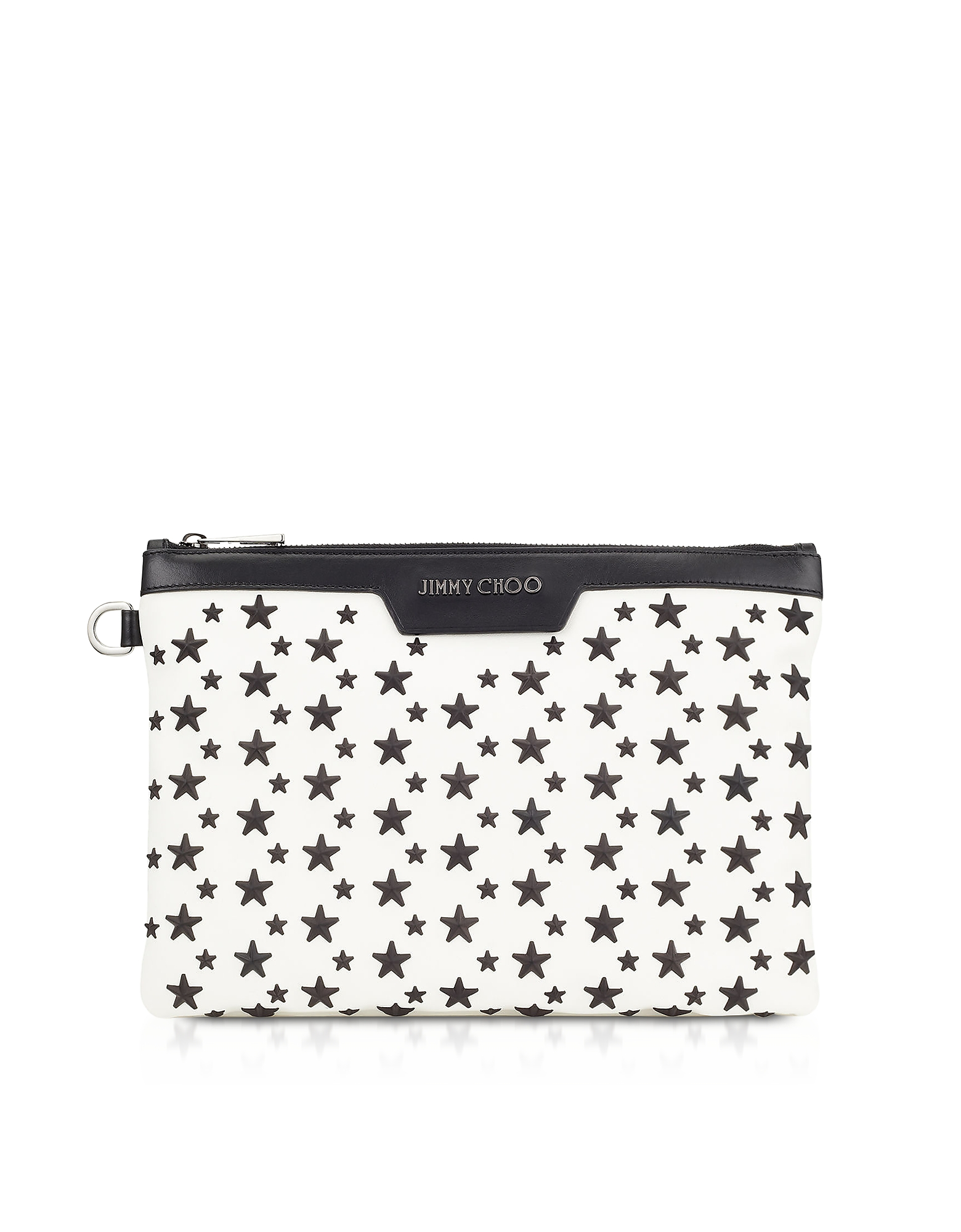White & Black DEREK/S Small Clutch w/Stars
