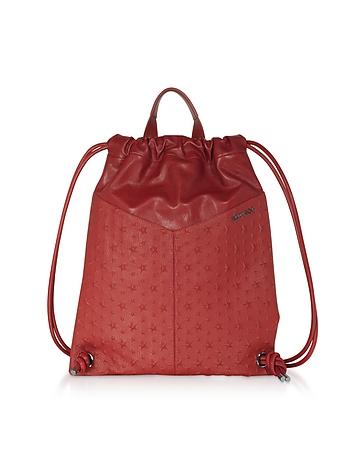 Red Leather Embossed Stars MARLON Medium Backpack