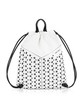 White Leather MARLON Medium Backpack w/Stars