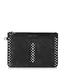 Derek Black Leather Clutch w/Punk Studs - Jimmy Choo